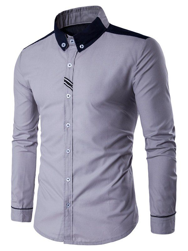 2a129ffcc6e9 Long Sleeve Contrast Panel Button Down Shirt   Pinterest