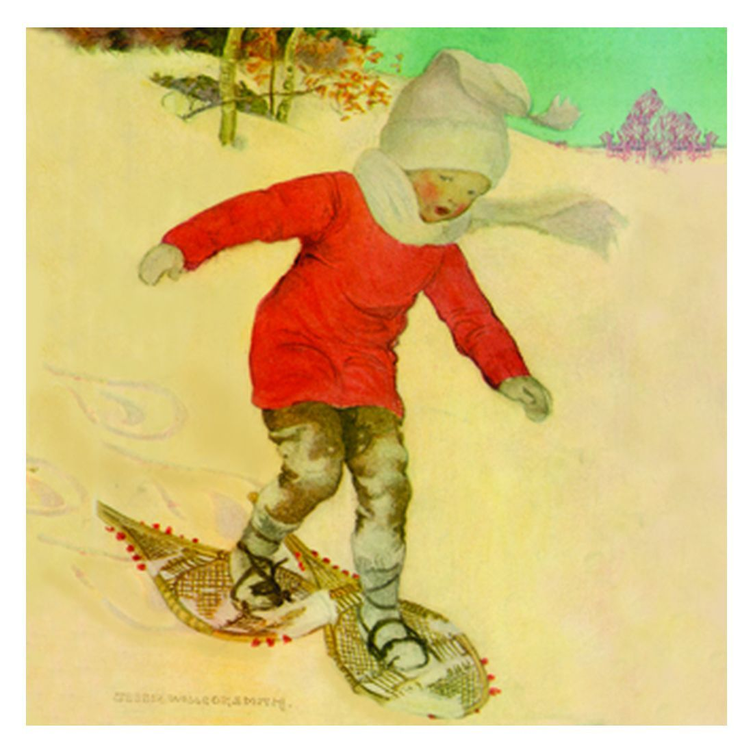Jessie Willcox Smith Greeting Cards : Boy Snowshoeing
