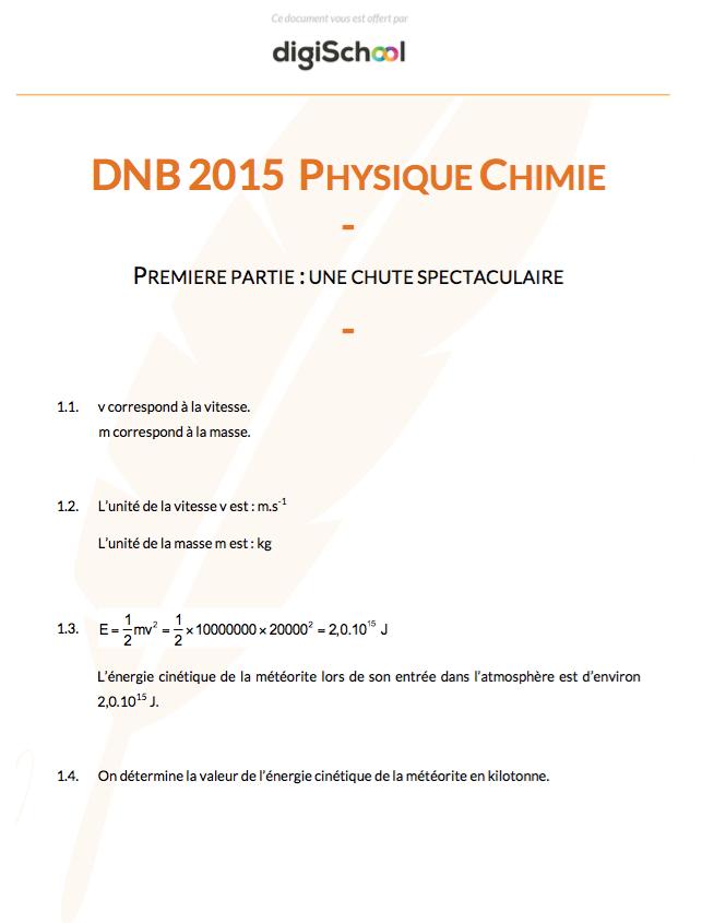Spe Physique Brevet 2016 Cours Et Annales Corrigees Physique Chimie College Chimie Lycee Physique Chimie