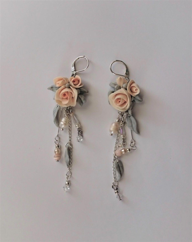 Wedding Earrings Rose Earrings Flower Jewelry Clay Flower Earrings Polymer Clay Roses Drop Earrings By Angel4e Rose Earrings Flower Jewellery Clay Earrings