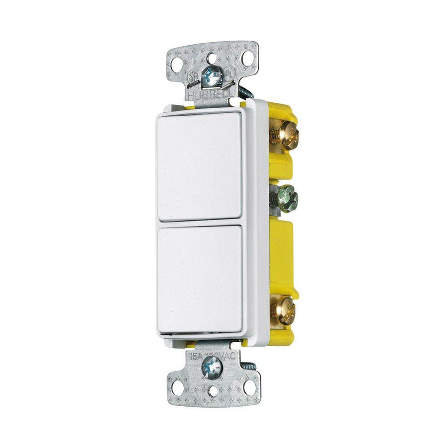 Hubbell 2 Switch 15 Amp Single Pole 3 Way White Rocker Indoor Light Switch Light Switch Indoor Lighting Light