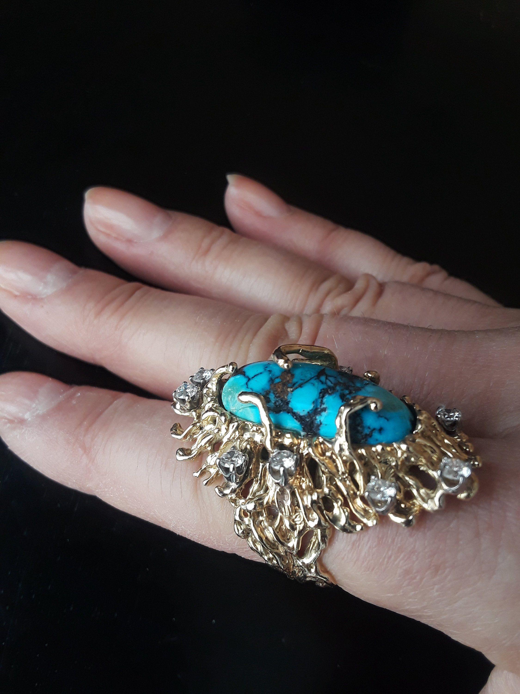 14k Gold 1ct Diamond Bisbee Blue Turquoise Wedding