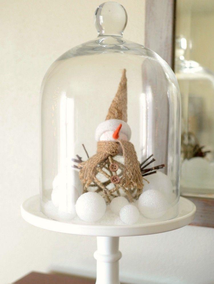 schneemann figur und styropor kugeln unter glasglocke christmas diy pinterest glasglocke. Black Bedroom Furniture Sets. Home Design Ideas