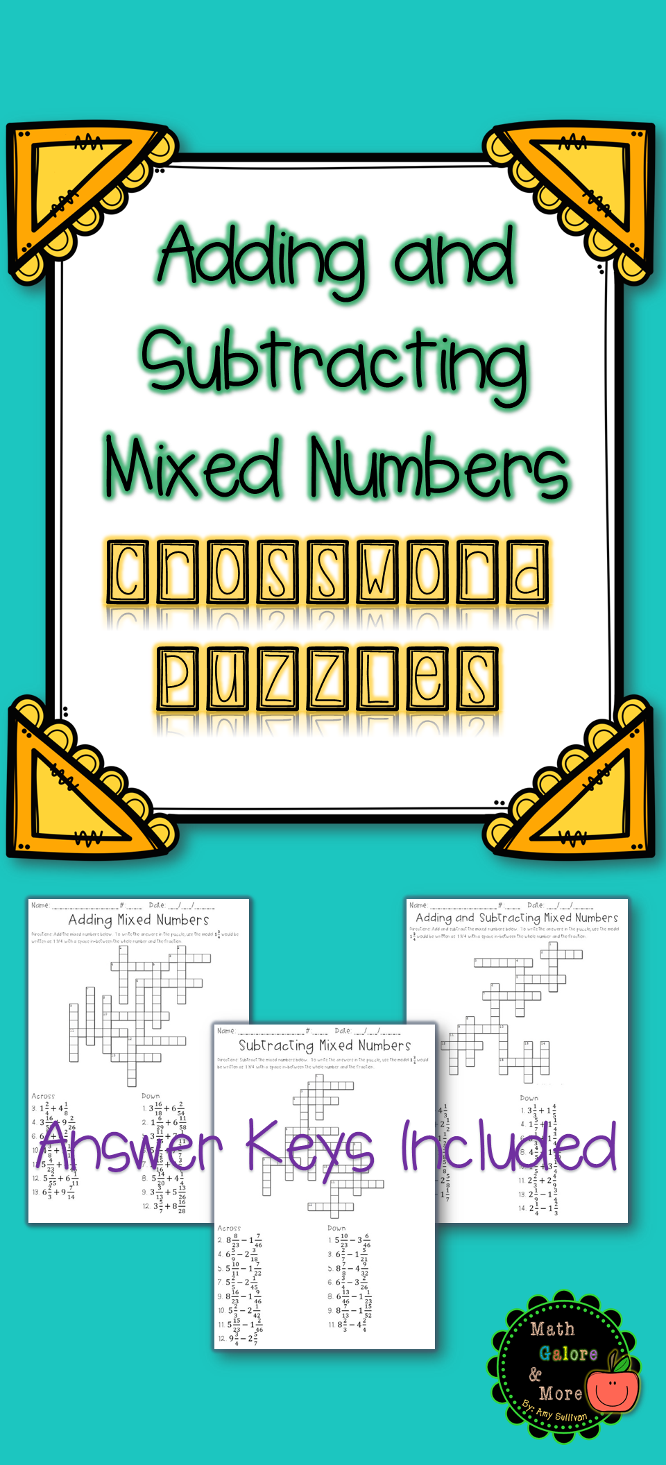 Adding and Subtracting Mixed Numbers Crossword Puzzle Activity ...