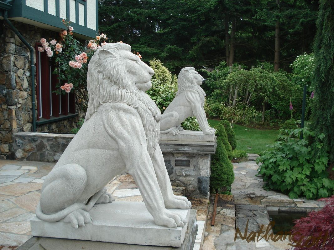 Lions Statue Entrance Home Art Sculpture Decor Construct