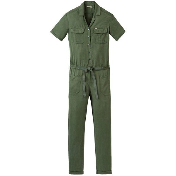Lee Long Jumpsuit, Military Green ($120) ❤ liked on Polyvore featuring jumpsuits, long sleeve jumpsuit, green jumpsuit, print jumpsuit, sleeved jumpsuit and olive jumpsuit