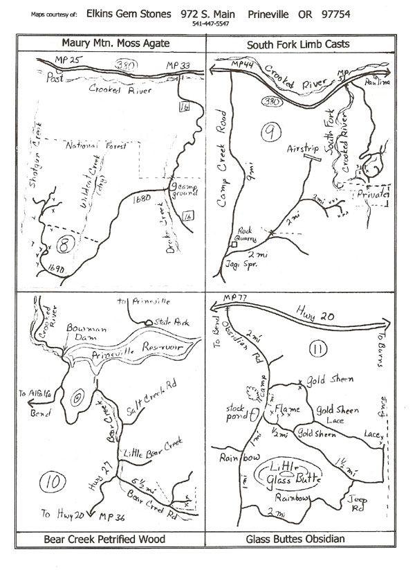Prineville Oregon Maps Courtesy Of Elkins Gem Stones Prineville