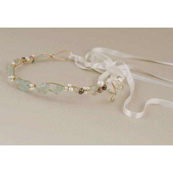 Aquamarine medieval pearl ribbon tie by EricaElizabethDesign