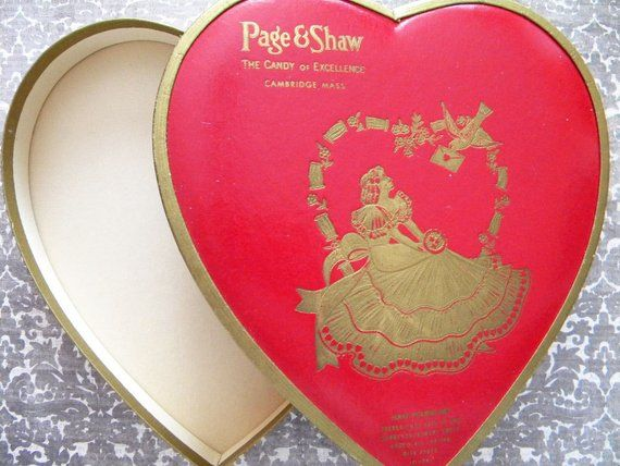 Vintage Valentine S Day Candy Box Heart Shaped Chocolate Box Page