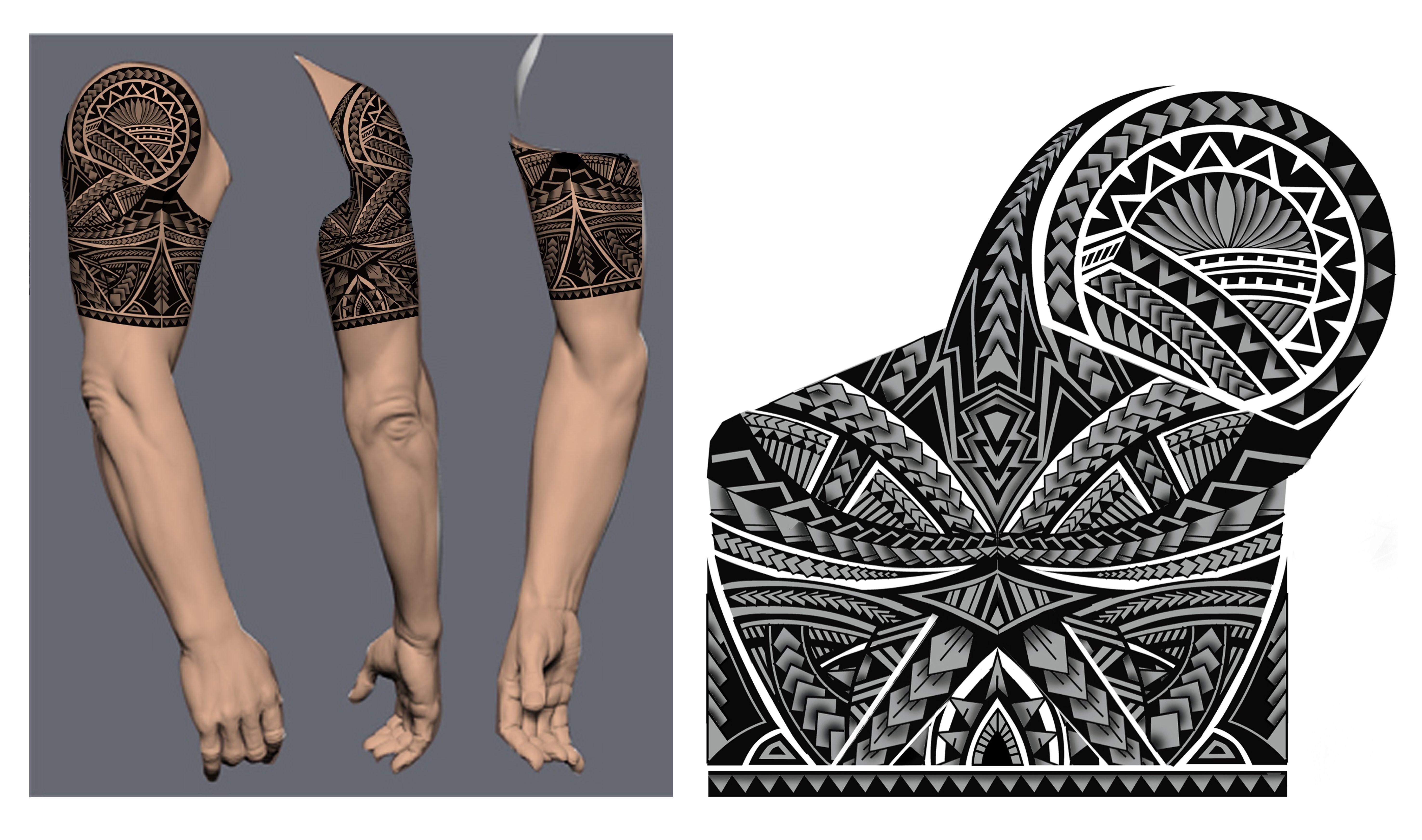 Polynesian/Maori Tribal Half Sleeve Tattoo Design