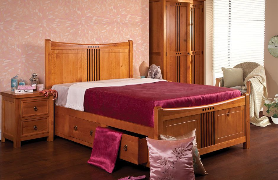 Lavish Sweet Dreams Curlew Solid Wooden Storage Bed Frame In Double