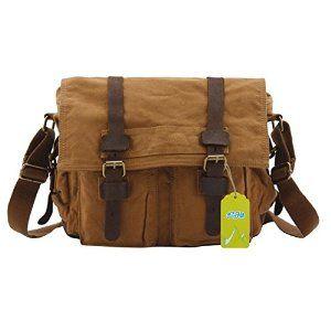 5288f1da1f Amazon.com  S.C.Cotton Leisure Canvas Single Shoulder Messenger Bag Purse  with Durable Strap - Brown  Sports   Outdoors