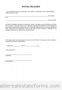 Sample Printable Release Of Option Mutual Releases  Form  Sample