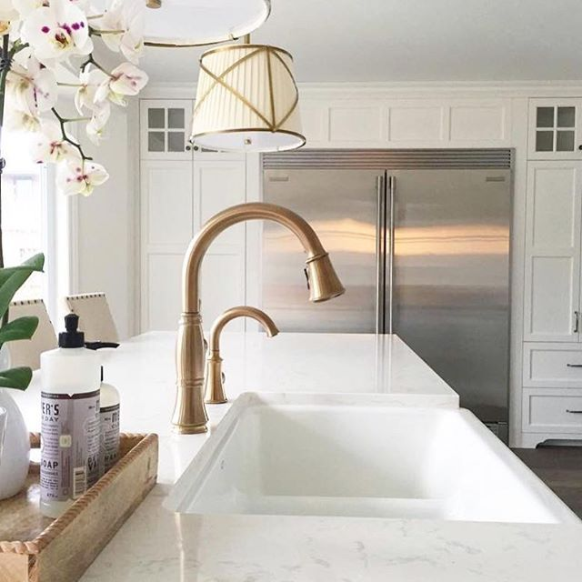 Such A Lovely And Functional Workspace By Sellnerdesign Cassidy Collection And Traditional Beverage Faucet In White Farmhouse Sink Bronze Kitchen Faucet Home