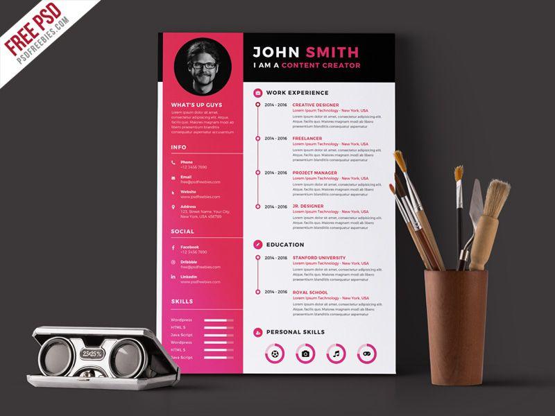 Modern Resume CV Template Free PSD Modern resume, Cv template - modern resume