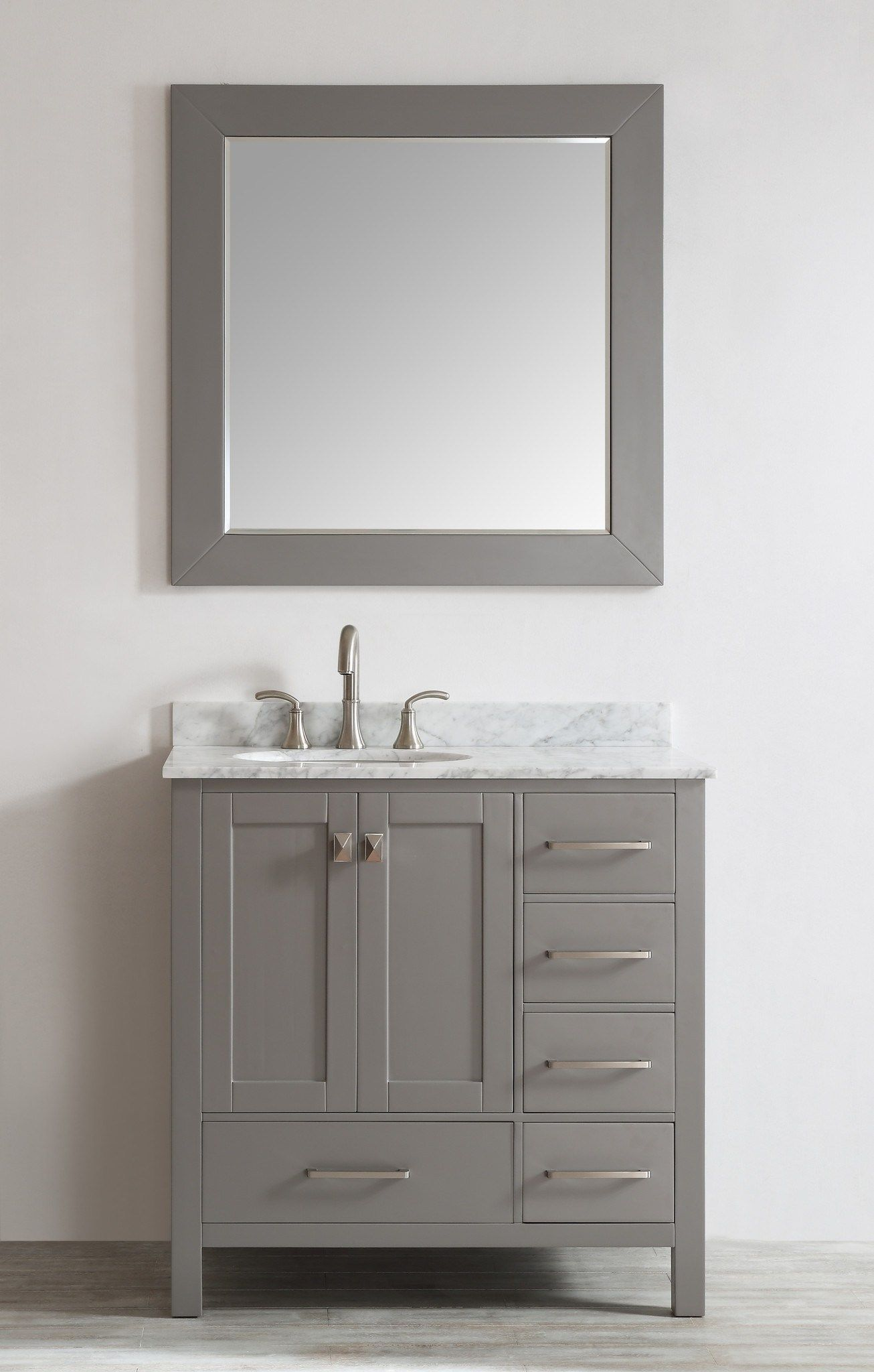 Bathroom vanities dallas tx - Eviva Aberdeen 36 Transitional Grey Bathroom Vanity With White Carrera Countertop Square Sink