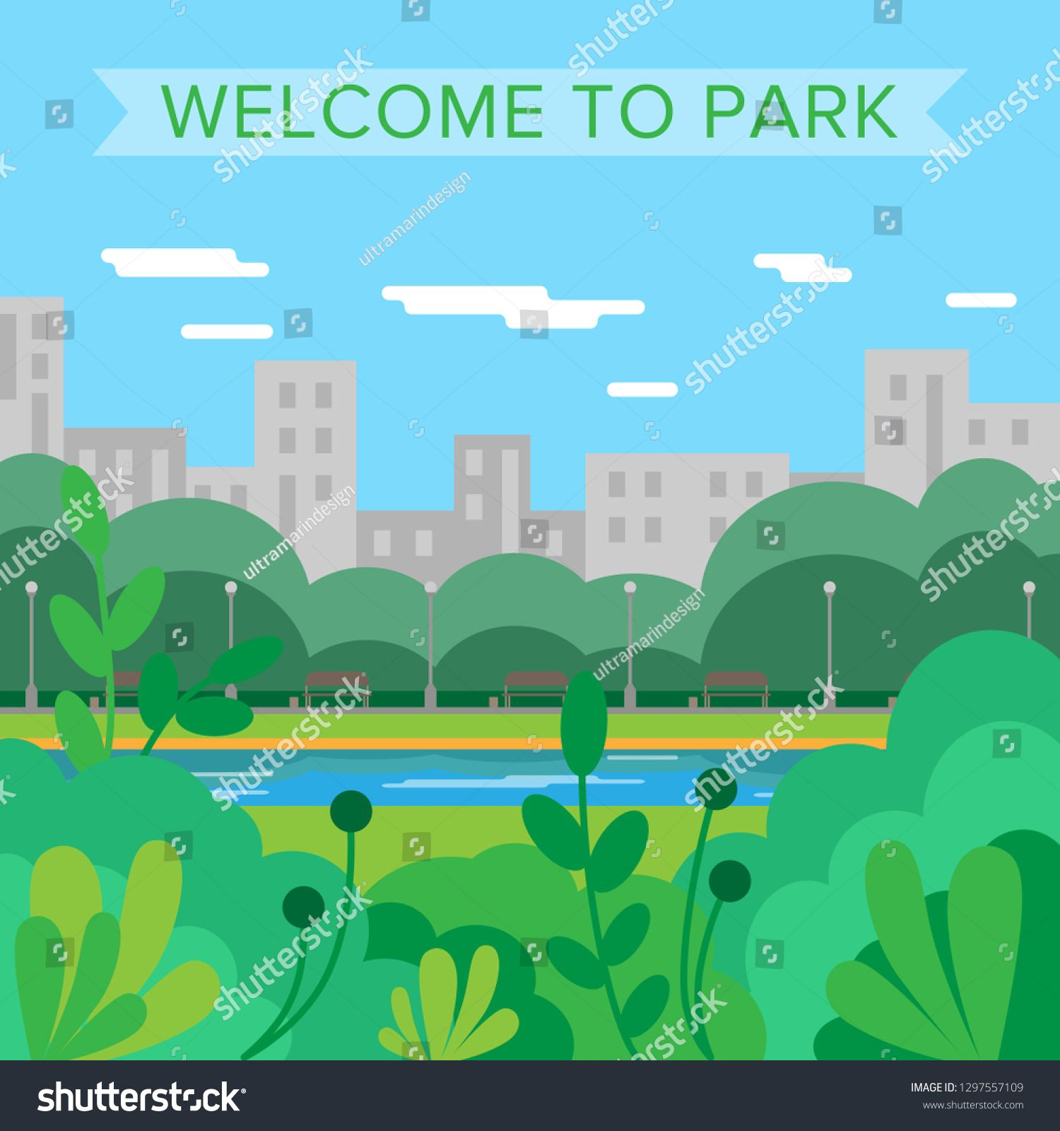 Welcome To Park Vector Background City Park Nature Summer Sponsored Affiliate Background Vector Park Summer Vector Background Park City Background
