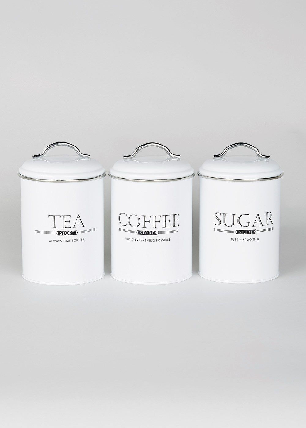 Matalan tea coffee sugar canisters 17cm £12