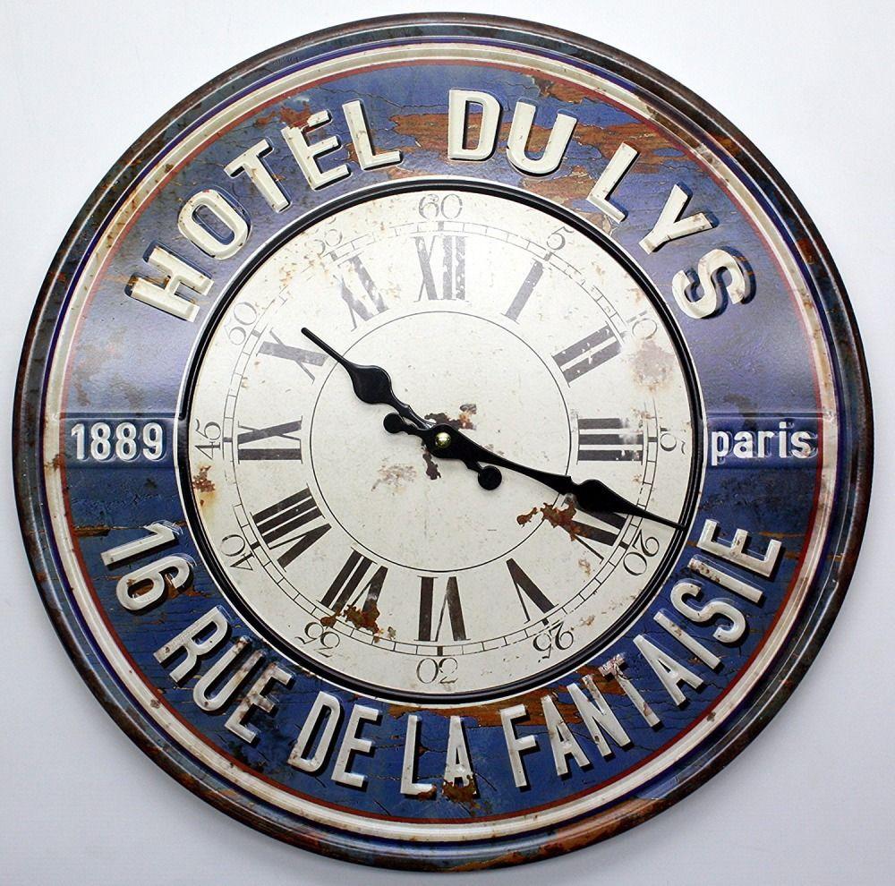 Large Vintage Wall Clock Metal Blue Hotel Du Lys Home Decor Round 40cm Diameter Pmpp Artdecostyl Metal Wall Clock Large Vintage Wall Clocks French Wall Clock