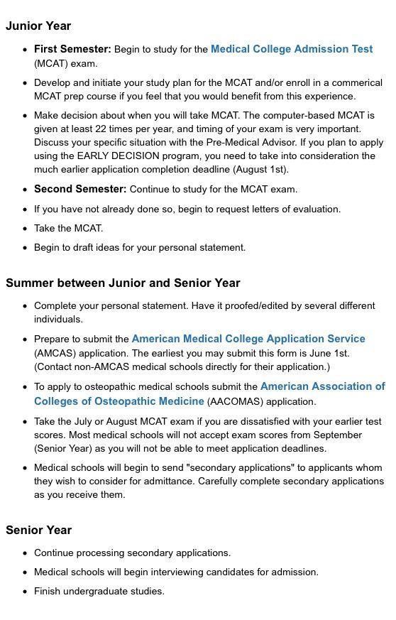 Uw Milwaukee Pre Med Suggested Timeline Of Activities Part 2 Med School Motivation Medical School Motivation Pre Med