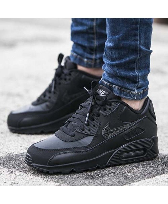 huge discount 7f131 ee0fd Cheap Nike AIR MAX 90 Leather GS Black Mens Trainers Sale UK