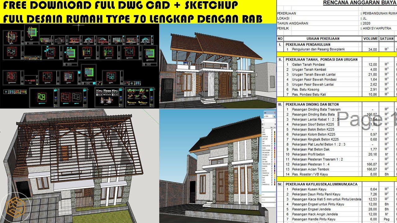 Full Desain Rumah Type 70 Lengkap Dengan Rencana Anggaran Biaya Desain Rumah Rumah Desain