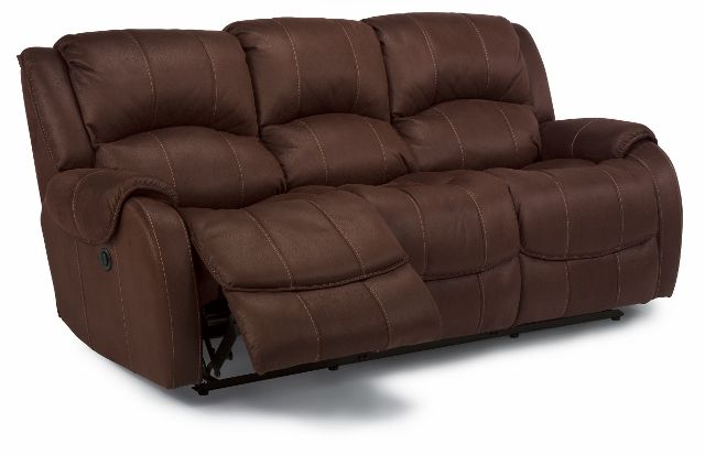 The Pure Comfort Double Reclining Sofa by Flexsteel features high density cushions in a soft brown microfiber.