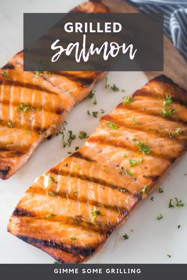 Grilled Salmon is marinated overnight and grilled until flaky. It's so quick and easy it's perfect for a weeknight meal on the grill paired with grilled asparagus and sweet potatoes!