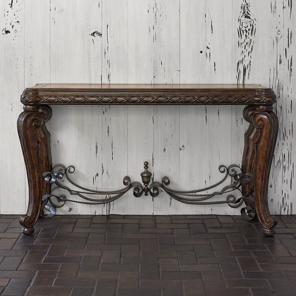 Stunning Contemporary Wrought Iron Marketry Wood Top Console Table,60'' x 34''H. #Unbranded #Mediterranean