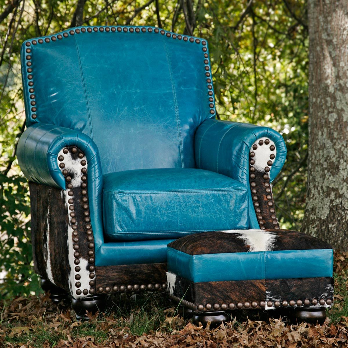 turquoise leather chair and ottoman lift chairs covered by medicaid brindle cowhide for the