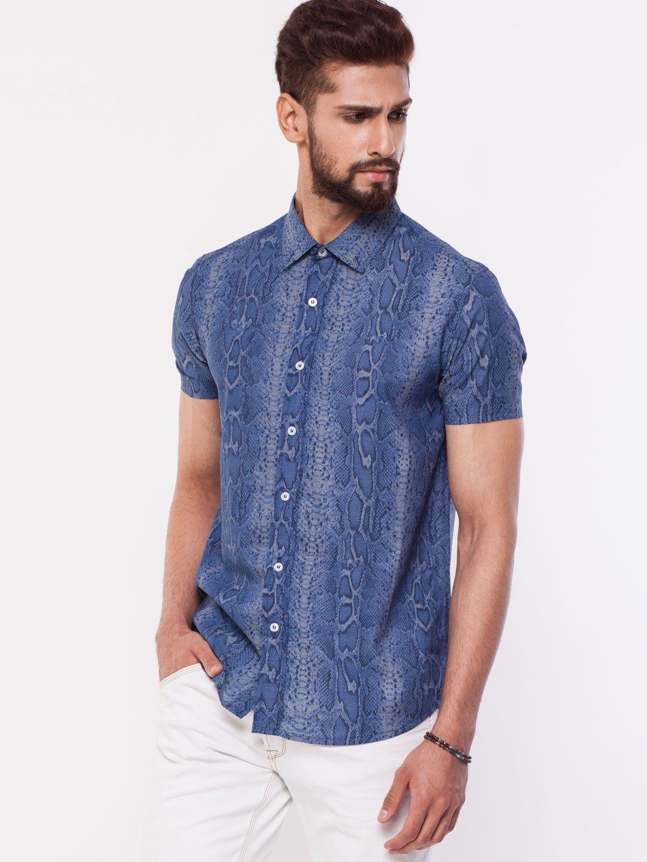 b03675430 KOOVS Blue Snake Skin Print Shirt 1 | Snakeskin Shirts for Men ...