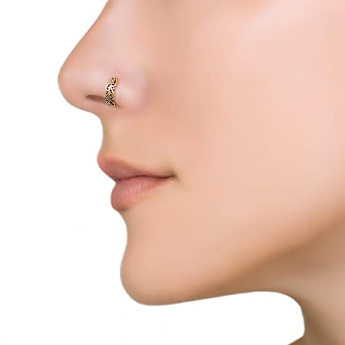 Indian Nose Ring Unique Tribal Boho Small Tiny Gold Brass Nose Hoop Piercing Earring Fits Tragus E In 2020 Unique Nose Rings Sterling Silver Nose Rings Nose Jewelry