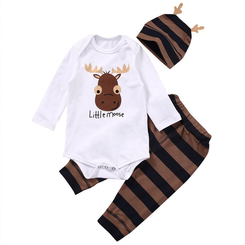 Fashion Infant Baby Kids Boys Girls Romper Jumpsuit Hat Outfits Clothes Set US