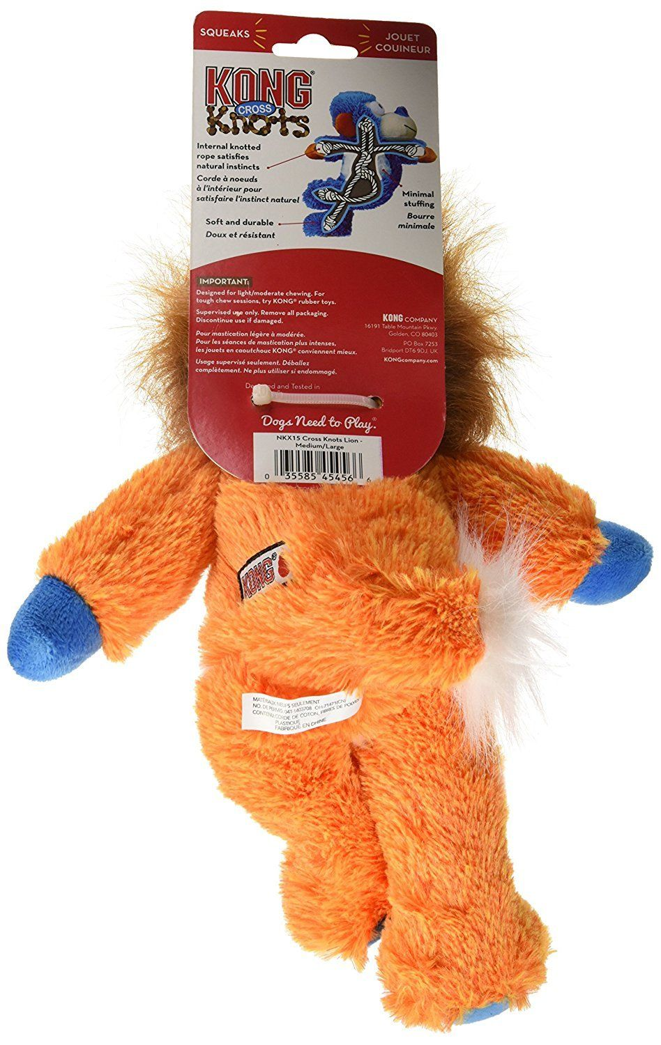 Kong Cross Knots Plush Squeaky Lion Dog Toy Medium Large You