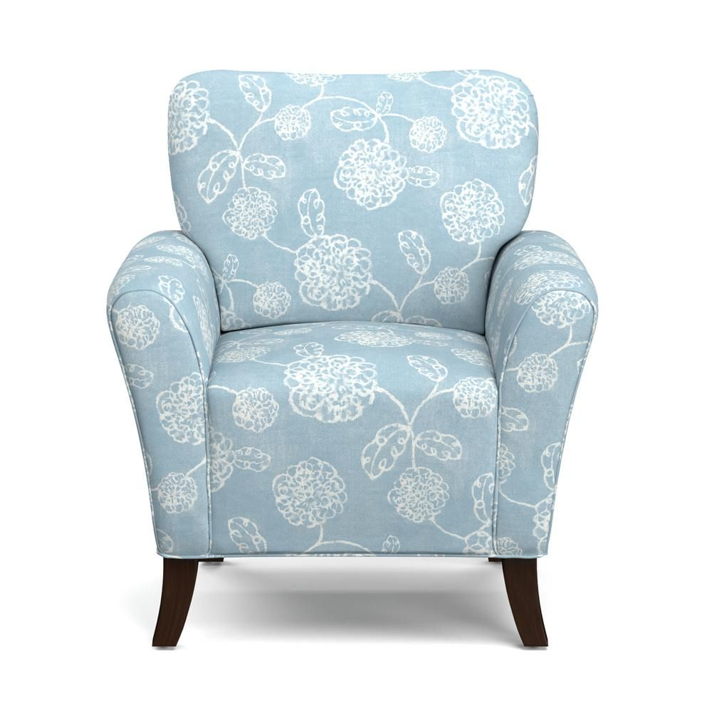 Blue Patterned Chair Handy Living Sasha Blue Floral Flared Arm Chair Sky Blue And