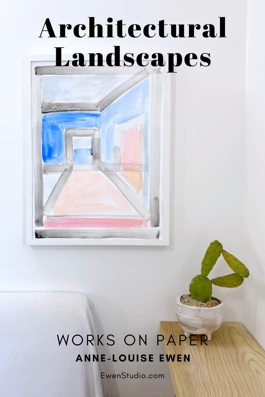 Please sign up at ewenstudio.com for shop update alerts.  #worksonpaper  #architecturallandscapes #originalart #homedecor #wallart #abstractart #painter #homeaccents #roomdecor #livingroom #contemporaryart