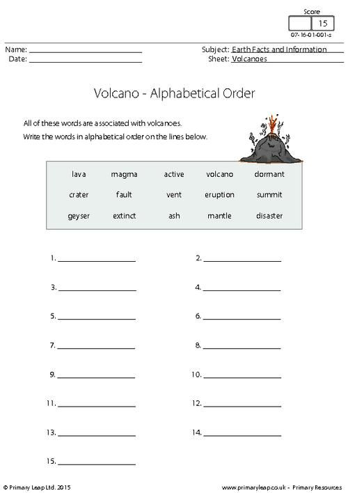Primaryleap Co Uk Alphabetical Order Volcanoes
