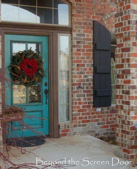 Bright Turquoise Door Black Or Dark Grey Shutters Painted