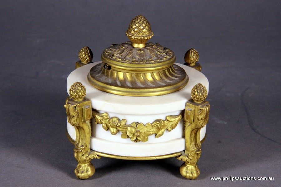 An Empire Style Marble And Ormolu Inkwell Late 19th To