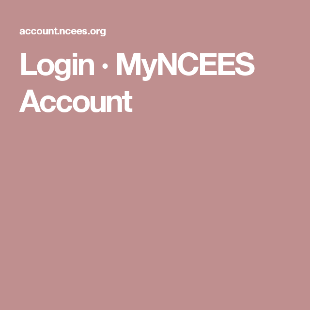 Login · MyNCEES Account