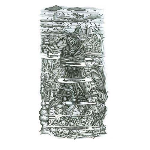 Grimreaper half sleeve tattoo design tattoowoocom for Designing a sleeve tattoo template