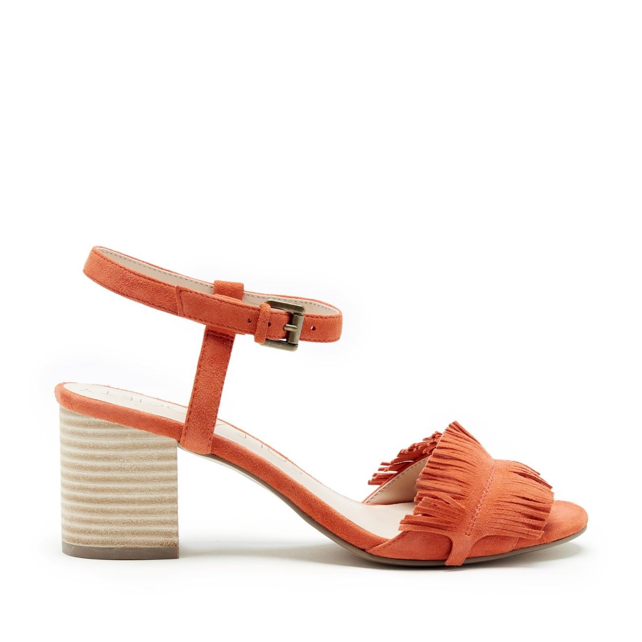 a0b644cba969 Sepia Fringe Ankle Strap Sandal - Creamsicle-5 Discount Womens Shoes