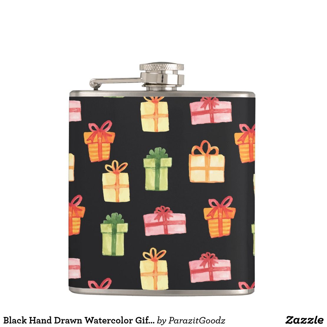 Black Hand Drawn Watercolor Gift Package Pattern Flask Zazzle
