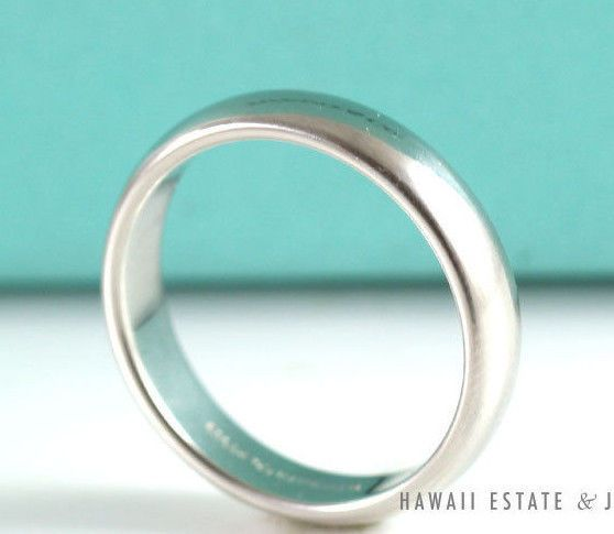 see more on our website (link in profile!) AUTHENTIC TIFFANY & CO. CLASSIC WEDDING BAND RING IN PLATINUM 4.5MM SIZE 8.75 #TiffanyCo #Wedding