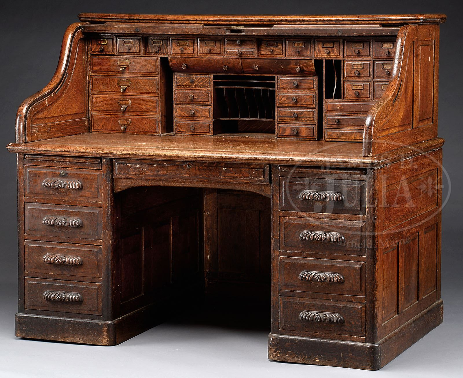 Fine Oak S Roll Top Desk With Full Interior Roll Top Desk Desk Desk With Drawers