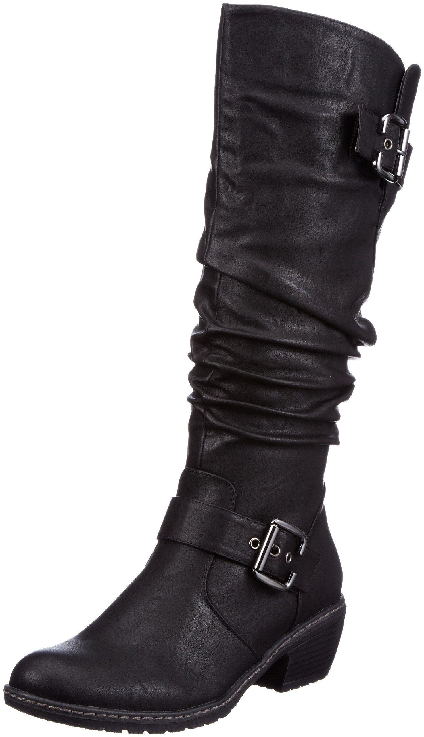 : Rieker Women's Black Buckle Detail Mid Calf Boot