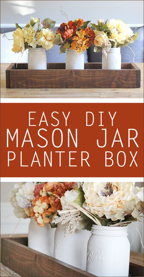 DIY mason jar planter box. Love this for an easy centerpiece!!