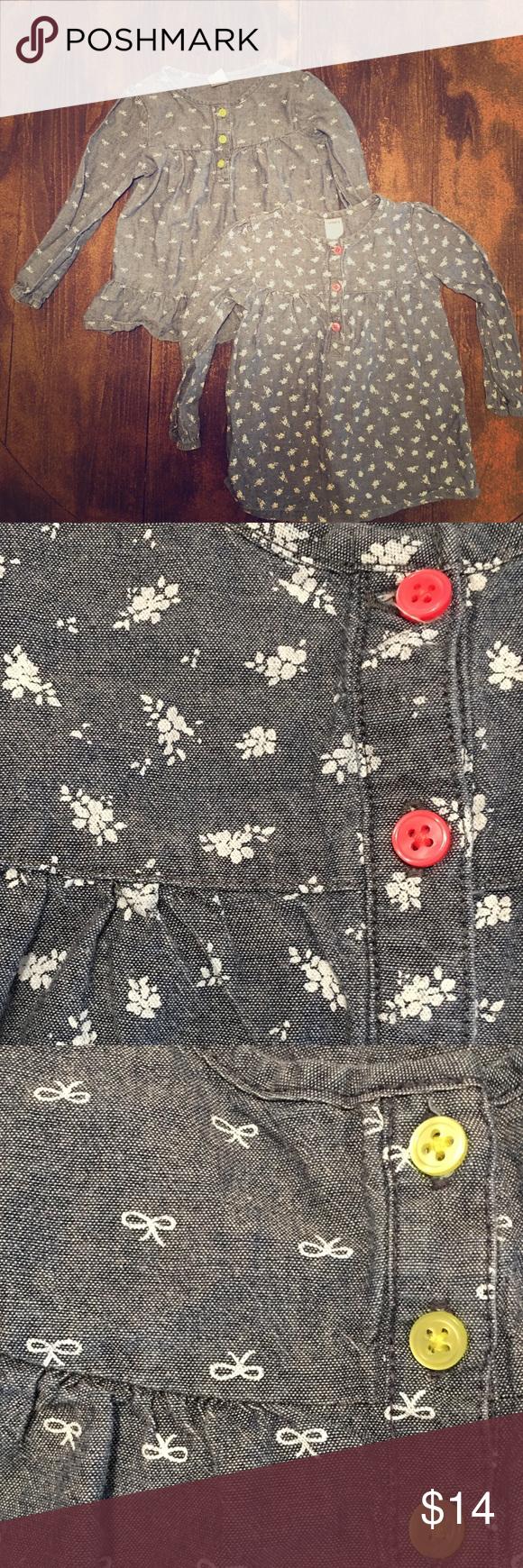 Chambray tunic shirts bundle Both size 2T Carter's Shirts & Tops Blouses
