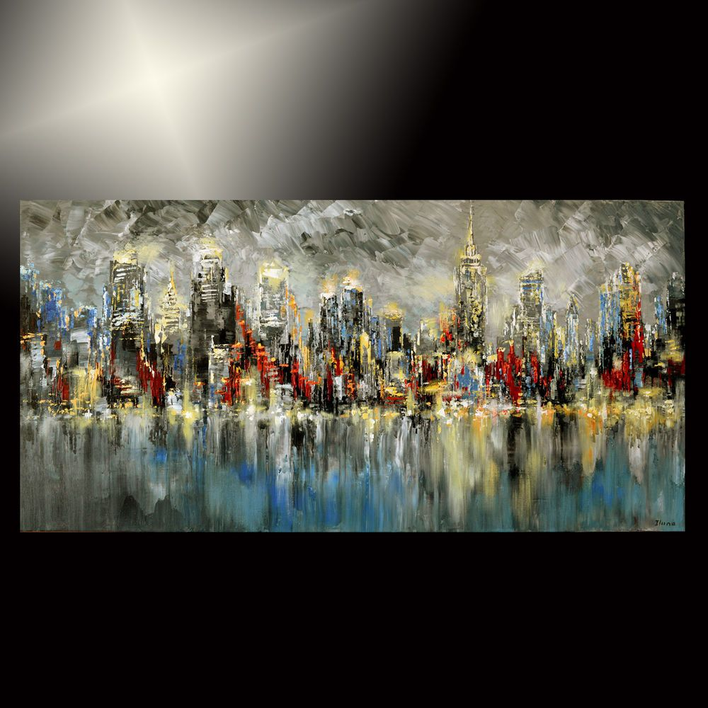 ABSTRACT city PAINTING palette KNIFE modern nyc ORIGINAL art TATIANA new york 48