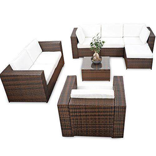 Polyrattan Lounge Möbel Set Ecksofa   Braun Mix   Sitzgruppe Garnitur  Gartenmöbel